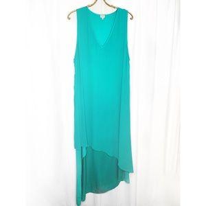 Babaton teal silk tiered sleeveless dress